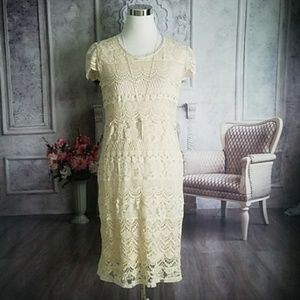 North Style Winter White Lace Dress Size Small